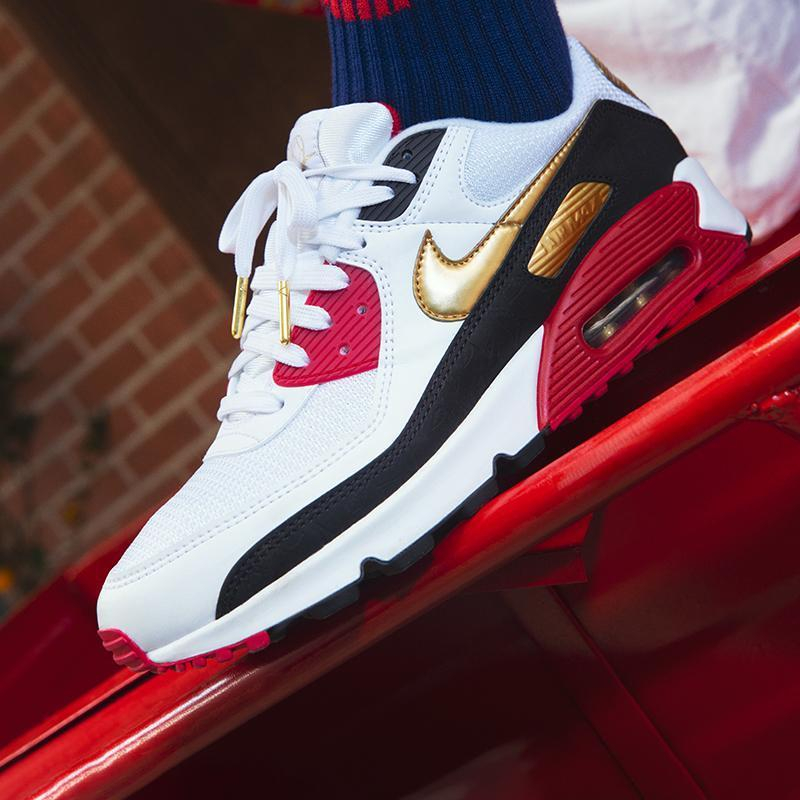 Image of Nike Air Max 90 Popular Women Men Casual Running Sport Sneakers Shoes White&Red&Golden