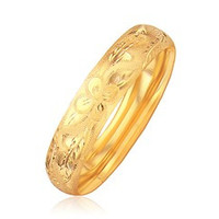 14K Yellow Gold Classic Floral Cut Bangle