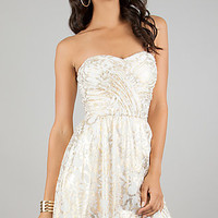 Ivory and Gold Print Strapless Short Dress by Hailey Logan
