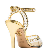 Soho PVC & Nappa Leather Heels in Transparent Gold