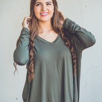 Long Sleeve V-Neck Piko Top in Olive