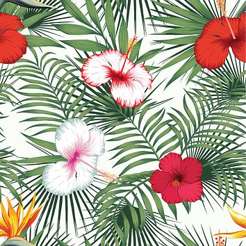 Retro Tropical Style Leaves Flowers Multicolored Wallpaper Reusable Removable Accent Wall Interior Art (wal054)