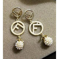 FENDI Newest Women Personality F Letter Pearl Pineapple Pendant Earrings Accessories Jewelry I13712-1