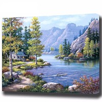 Canvas Oil Painting Framed Landscape Pictures