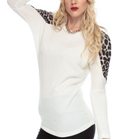 White and Leopard Long Sleeve Top
