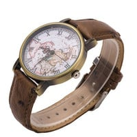 Unisex Vintage World Map Pattern Brown Leather Strap Band Watch + Gift Box