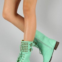 Privileged Titan Studded Lace Up Military Mid Calf Boot