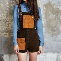 One-of-a-Kind Vintage Contrast Pocket Suede Dungaree Shorts - Urban Outfitters