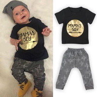 Boys 2 piece (Mamas Boy) T Shirt and Pants set.