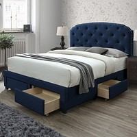 """Nailhead Trim Headboard Bed Frame with Storage Drawers, """"Queen""""blue"""""""