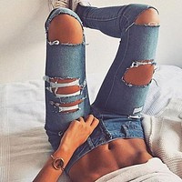 Women Bodycon Fashion Ripped Worn Hollow Jeans Trousers
