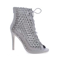 Profit By Delicious, Lace Up Geometric Cut Out Stiletto Heel Ankle Bootie