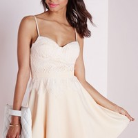 Missguided - Lace Bust Cup Skater Dress Nude