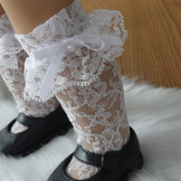 Ruffled White Lace Knee High Socks for American Girl Doll