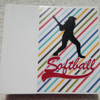 6x6 Multi-Colored Softball Scrapbook Album