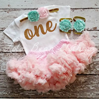 Baby Girl 1st Birthday Outfit Cake Smash Photography Props Gold One Onesuit Pink Petti Skirt Mint Headband LolaBeanClothing