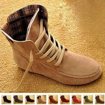 New Women Flat Ankle Snow Motorcycle Boots Female Suede Leather Lace-Up Martin Boot Plus Size 4.5-10 = 1932440708