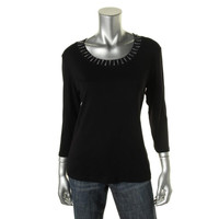 Style & Co. Womens Cotton Embellished Pullover Top