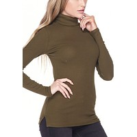 Ribbed Fitted Turtleneck Top