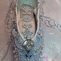 Cinderella themed pale blue and silver decorated pointe shoe with vintage jewel. OOAK decorated ballet shoe.