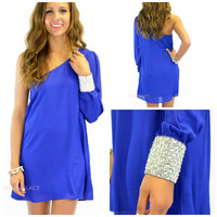 All Night Long Royal Blue One Shoulder Dress