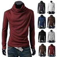 Mens Turtle Neck Stretch Shirts Casual Long Sleeve Sweater Tops Pullover T-shirt