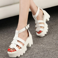 New Summer Lady Strappy Platform Block Heel Chunky Pure Buckle Leather Peep Toe Ankle High Sandals Women Gladiator Shoes#SJL88