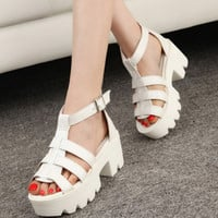 New Summer Lady Strappy Platform Block Heel Chunky Pure Buckle Leather Peep Toe Ankle High Sandals Women
