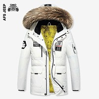 Winter New Warm Thick Jacket Mens  Fur Hood White duck down Keep Leisure Jacket Coat
