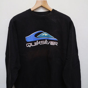 Vintage QUICKSILVER Pullover Sweatshirt Sweater Black Color Size XL