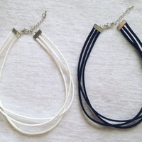 Triple Wrapped Fauxe Suede Leather Adjustable Choker Necklace in Black or White Cord / Hippe Boho 90s Vegan Cruelty Free