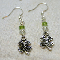 Silver Tone Shamrock Clover Earrings With Green Accents St. Patrick's Day Saint Patrick March Lucky Leprechaun Green