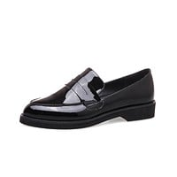 Genuine Leather Women Puppy Heels Loafers Shoes Big Size 7813