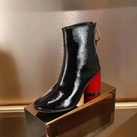 GUCCI Trending Women Fashion Black Leather red high Heels Shoes Boots Winter Autumn