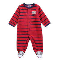 Baby Boy One-pieces Baby Polar Fleece long sleeve Bodysuit Set Baseball Red