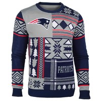 New England Patriots NFL 2015 Patches Ugly Crewneck Holiday Sweater