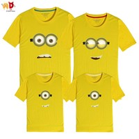 AD 1PCS Glasses Minion Mother and Daughter Father and Son T-shirts Family Matching Clothing Couple Clothes