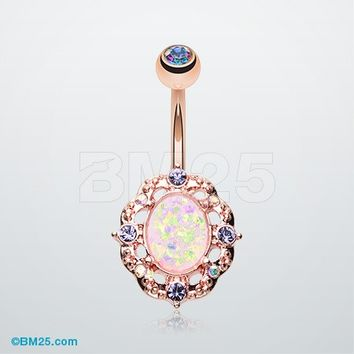 Rose Gold Florid Opal Sparkle Belly Button Ring