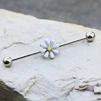 316L Stainless Steel White Daisy Industrial Barbell