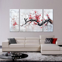 Triptych Cherry Blossom painting, 3 piece wall art, 3 piece large wall art, Hybrid Art Gallery, Large Wall art, cherry blossom painting, art