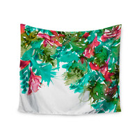"""Ebi Emporium """"Floral Cascade 7"""" Teal Red Wall Tapestry"""