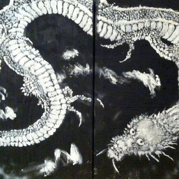 Hokusai Reproduction Diptych Ukiyoe Woodblock Reclaimed Wood Art Vintage Asian Art Japanese Art Asian Art Large Wall Art Large Wood Art
