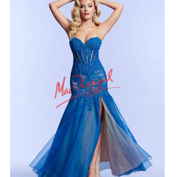 Mac Duggal 10000M Midnight Blue Vintage Inspired Lace Gown 2015 Prom Dresses