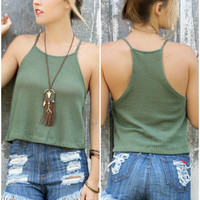 Fool For Love Olive Open Knit Racerback Crop Top