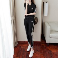 """Adidas"" Women Casual Fashion Letter Stripe Zip Hooded Short Sleeve Trousers Set Two-Piece Sportswear"