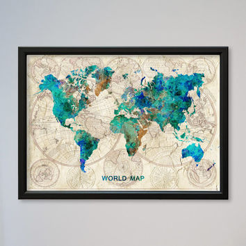 World Map FRAMED Watercolor Poster Old World Map Wall Art Decor Fine Art Giclee Print Gift Home Decor Wall Hanging