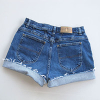 Vintage 90s High Waisted Cut Off Denim Shorts Mom Jeans Stretch 8 Blue 28""