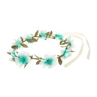 Mint Ombre Flower Crown with Crocheted Ribbons