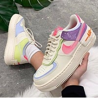 Nike Air Force 1 White pink and purple double hook low top shoes