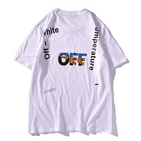 Off White New fashion letter print couple top t-shirt White
